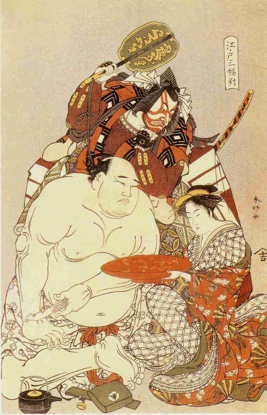 bunter Holzblockdruck mit drei Figuren. Im Vordergrund links ein Sumō-Ringer, rechts daneben eine Kurtisane und dahinter ein Kabuki-Darsteller.