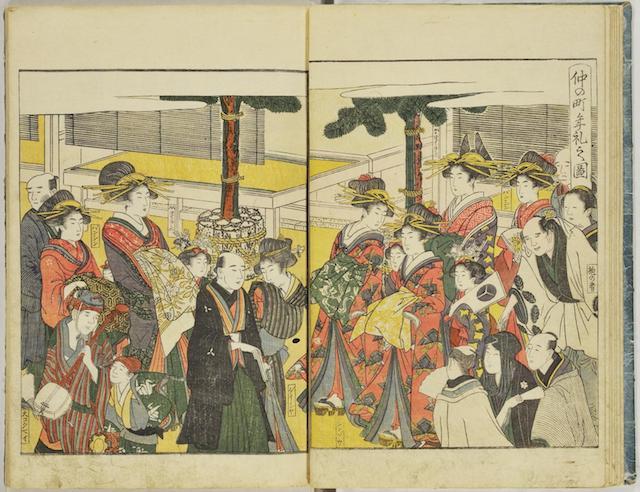 Doppelseite aus einem Leseheft der Edo-Zeit, kolorierter Holzblockdruck mit einer Szene aus dem Freudenviertel mit zahlreichen Kurtisanen und einigen Männern beim Flanieren