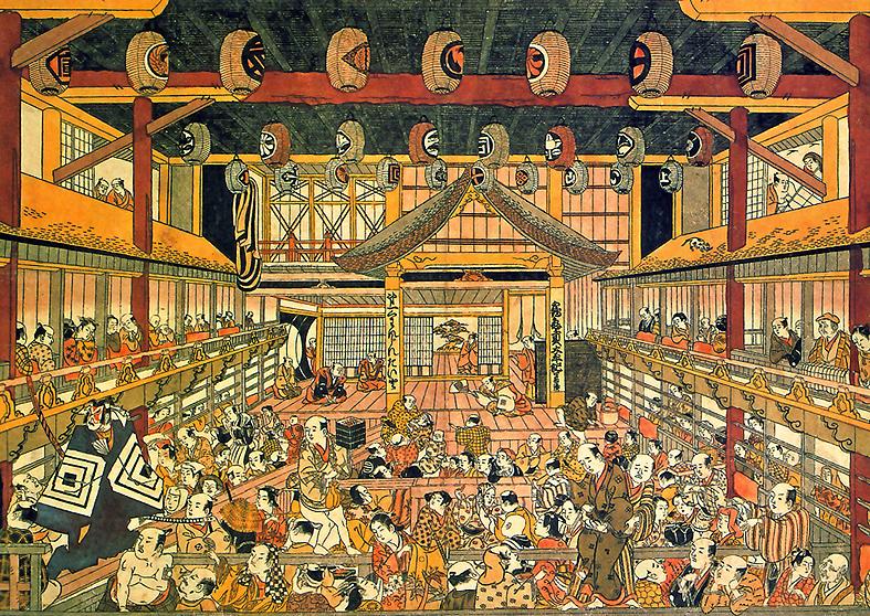Holzblockdruck: Im Innenraum eines Kabuki-Theaters. Vorn in der Mitte die Bühne, unten der Zuschauerraum mit dem Steg für die Schauspieler (hanamichi), rechts und links die Ränge.