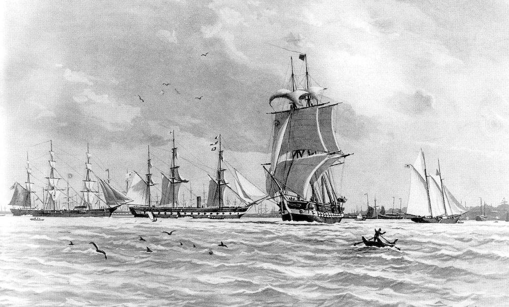 Gemälde in Schwarz-weiß von drei Segelschiffen.