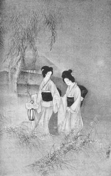Tuschebild in Schwarz-weiß von zwei Damen in einem weißen Kimono mit schwarzem Obi; eine Frau hält eine Laterne.