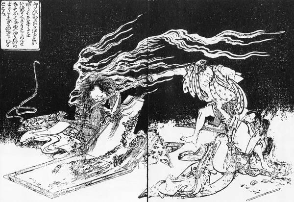 Eine männliche Erscheinung mit wild zerzausten Haaren entreißt einem angreifenden Menschen das Schwert.