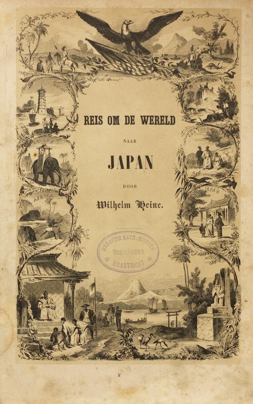 """Frontispiz der niederländischen Ausgabe des Werks von Wilhelm Heine mit dem Titel """"Reis om de Wereld naar Jpaan"""". Gerahmt von einem Skizzenkranz verschiedener Reiseszenen. Unten der Berg Fuji und eine Schreintor."""