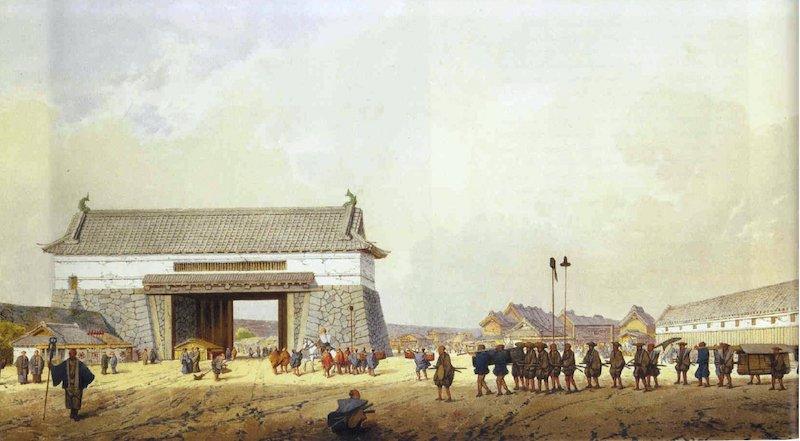 Aquarell eines Tores am Palast von Edo.