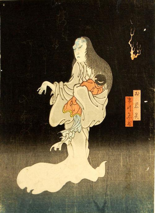Holzblockdruck: O-Iwa als weiß gekleidete Geister-Frau mit deformiertem Gesicht und ihrem Kind auf dem Arm.