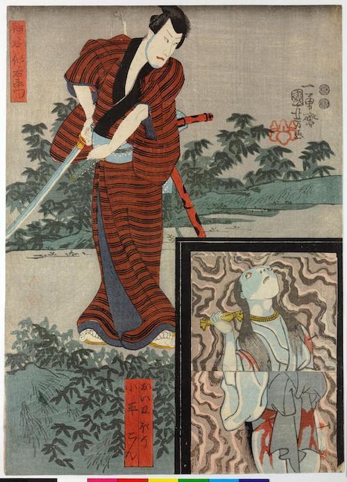Blockdruck: Iemon schaut auf die Türplatte. Das Trickbild zeigt einmal die Türplatte mit O-Iwa, einmal mit dem Diener.