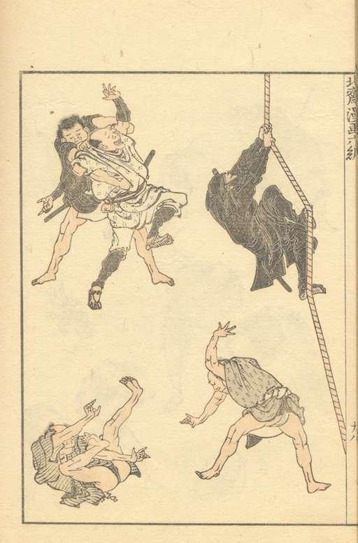 Eine Seite aus den Hokusai Manga: insgesamt 5 Figuren, 4 Männer im Nahkampf, am rechten Bildrand klettert ein schwarz gekleideter Ninja ein Seil hinauf.