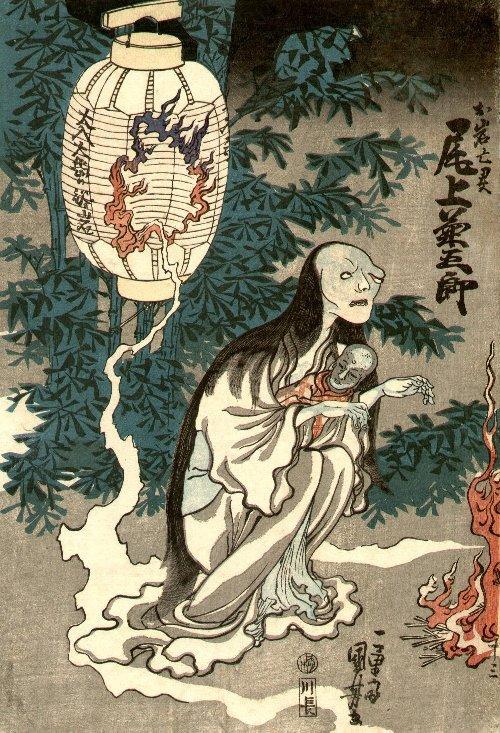 Der Geist von O-Iwa mit ihrem Kind auf dem Arm, aus der Laterne entstiegen, die ein Loch hat.