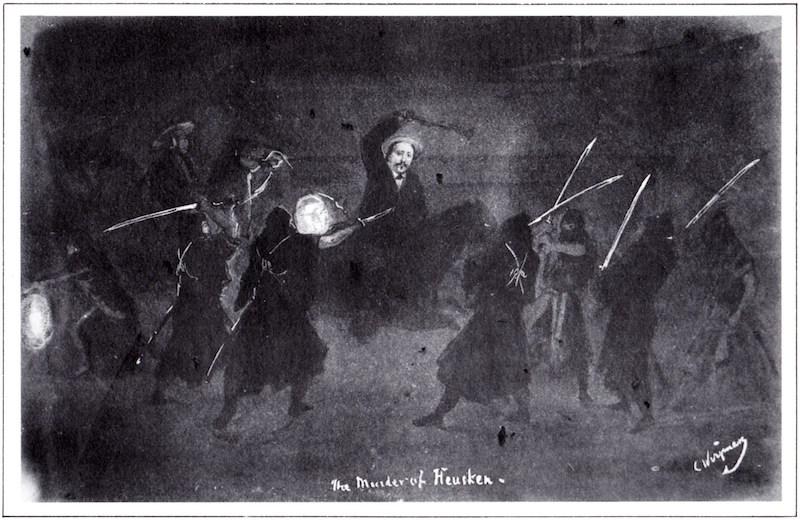 Es ist dunkel. Ein Europäer zu Pferd wehrt sich gegen mehrere schwarz vermummte Samurai, deren Schwerter hell aufblinken.