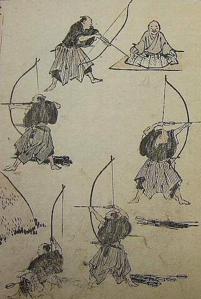 Eine Seite aus den Hokusai Manga: insgesamt 6 Figuren, 5 Bogenschützen und ein sitzender Lehrer.