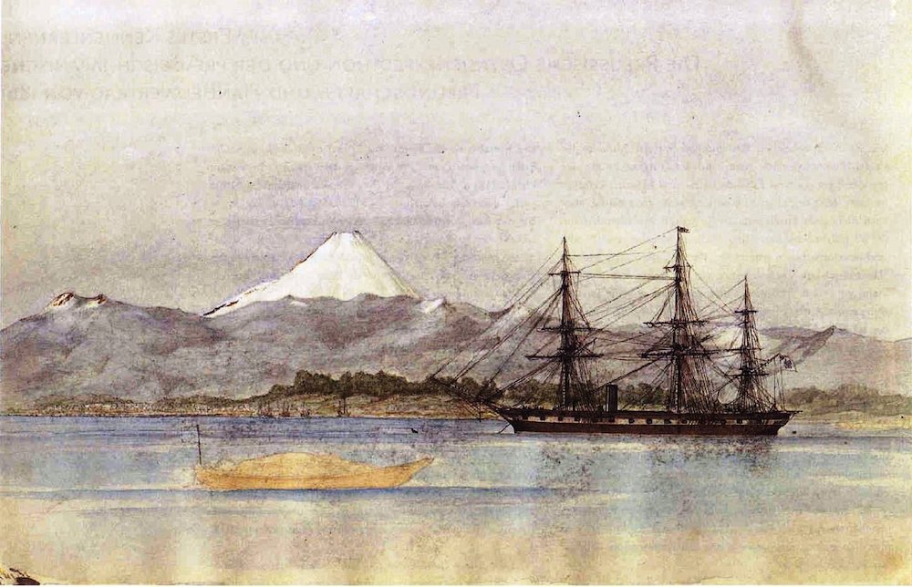 Die SMS Arkona vor dem Berg Fuji.