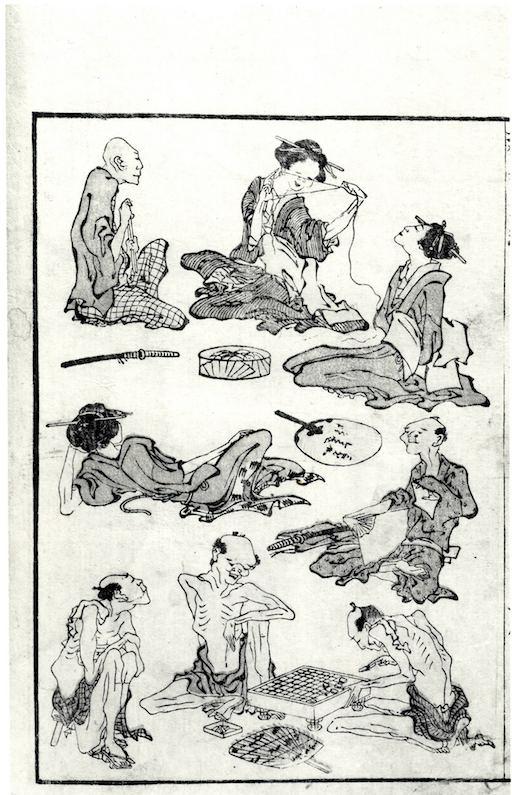 Eine Seite aus den Hokusai Manga: insgesamt 8 sehr magere Menschen, die in zwei Gruppen beieinandersitzen, erzählen, das Brettspiel Go spielen.