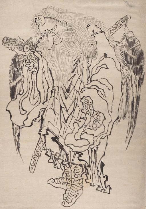 Skizze von Katsushika Hokusai, Tinte auf Papier. Tengu als weiser Bergasket mit langer Nase. Der alte Mann ist in ein Gewand gekleidet, trägt Stiefel, hat Flügel und einen langen Bart
