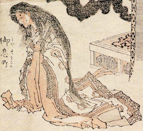 Ausschnitt aus einer Seite aus den Hokusai Manga: der Geist der Hofdame Rokujō in prächtiger Hofleidung, allerdings mit nach vorn gebeugtem Körper, mit einem hässlichen Gesicht und langen, wirren Haaren und Hörnern.