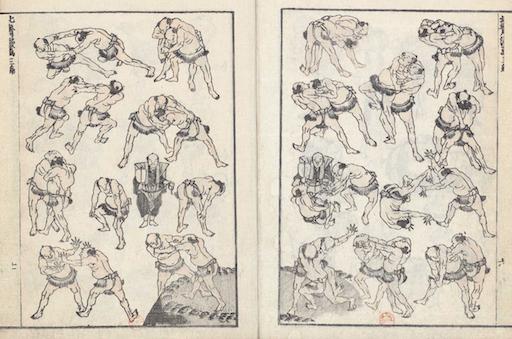 Eine Doppelseite aus den Hokusai Manga: insgesamt 38 Figuren, immer zu zweit gegeneinander kämpfend, darunter zwei Schiedsrichter. Die Ringerpaare zeigen die unterschiedlichsten Techniken des Sumō. Am Boden in der Mitte ist ein Ring angedeutet.