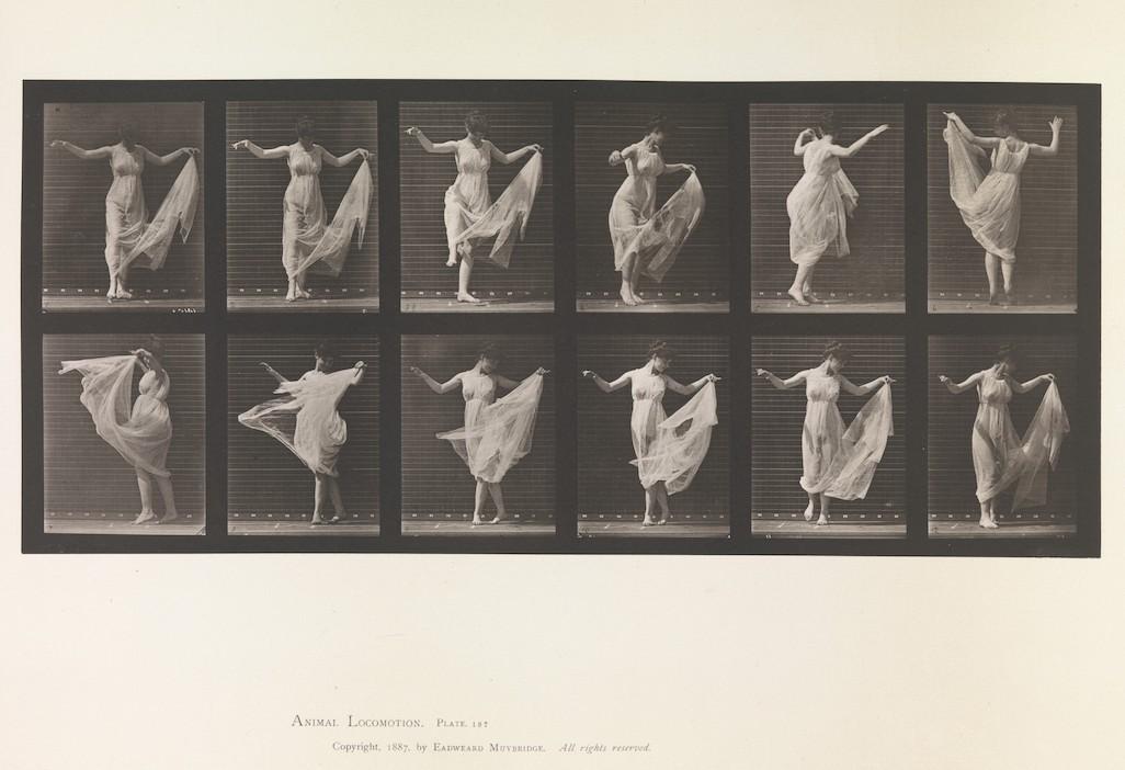 Tafel 187 aus Muybridges Werk Animal Locomotion (in der Ausgabe von 1887): 12 Fotos einer Tänzerin ein einem weißen, durchsichtigen Kleid