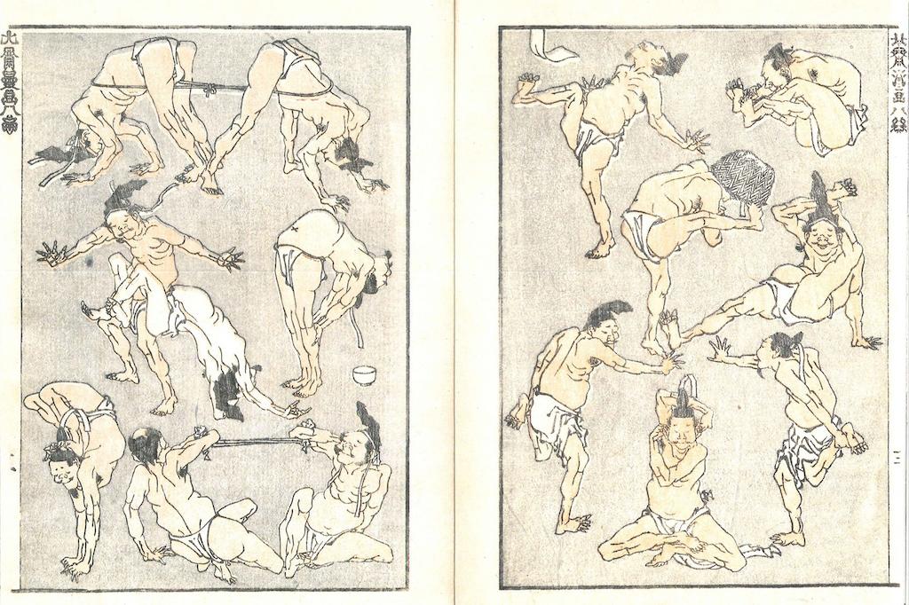 Eine Doppelseite aus den Hokusai Manga: insgesamt 14 übermütige Männer im Lendenschurz, die turnen. Sich mit einem Seil dehnen, sich verrenken, zum Beispiel das Bein hinter den Kopf führen, den Oberkörper beugen.