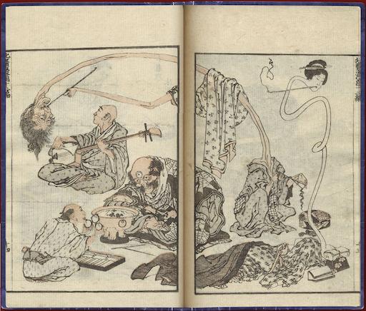 Eine Doppelseite aus den Hokusai Manga: insgesamt 5 Figuren. Ein Arzt bietet einem Dreiäugigen eine Brille mit 3 Gläsern an; ein Shamisen-Spieler, eine Frau und ein Mann mit fantastisch verlängerten Hälsen (rokurokubi).