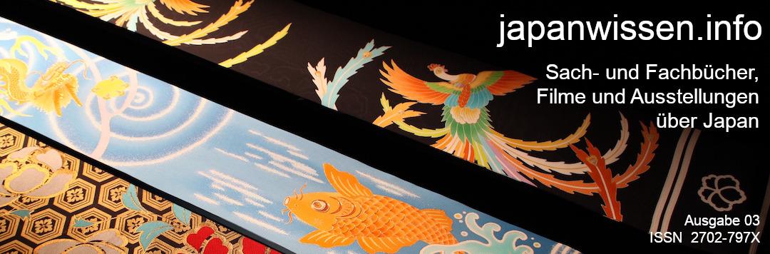 """Bunt gemusterte Kimono-Gürtel (obi) vor schwarzem Hintergrund, darauf die weiße Schrift """"japanwissen.info / Sach- und Fachbücher, Filme und Ausstellungen über Japan"""", Nummer der Ausgabe, ISSN 2702-797X"""